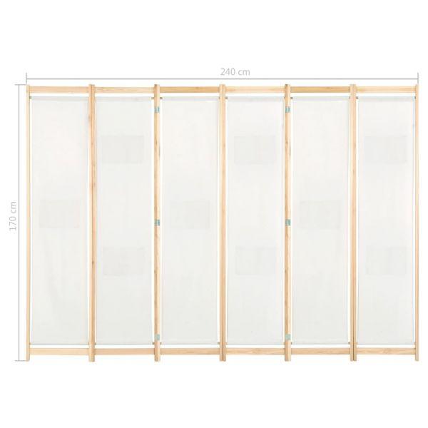 Traumhafte Afragola 6-teiliger Raumteiler Cremeweiß 240 x 170 x 4 cm Stoff