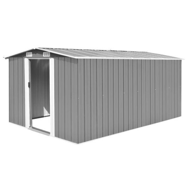 Starker Geräteschuppen 257x398x178 cm Metall Grau Guantanamo