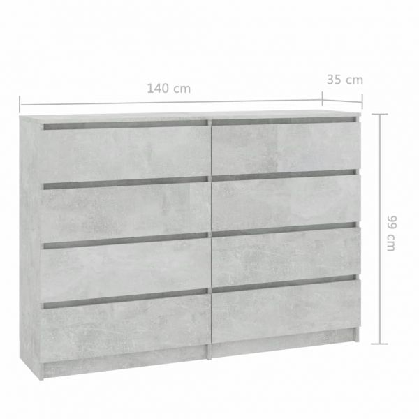 grandiose Stockton-on-Tees Sideboard Betongrau 140 x 35 x 99 cm Spanplatte