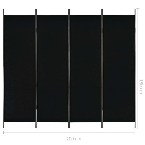 Dekorative Moncalieri 4-tlg. Raumteiler Schwarz 200 x 180 cm