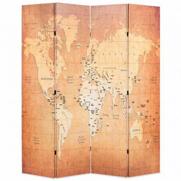 Moderner Terni Raumteiler klappbar 160 x 170 cm Weltkarte Gelb