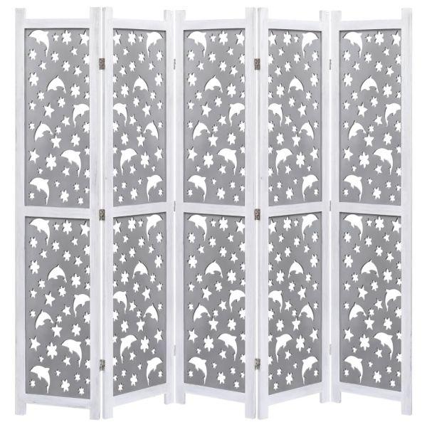 Moderner Vercelli 5-teiliger Raumteiler Grau 175 x 165 cm Massivholz