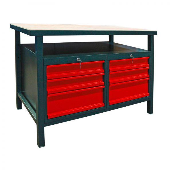 Profi Werkbank / Werktisch mit 6 Schubladen anthrazit