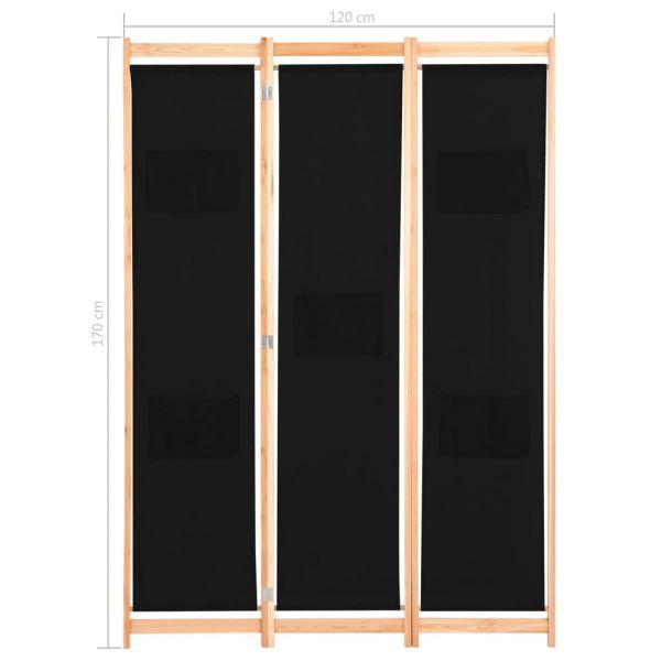 Dekorative Savona 3-teiliger Raumteiler Schwarz 120 x 170 x 4 cm Stoff