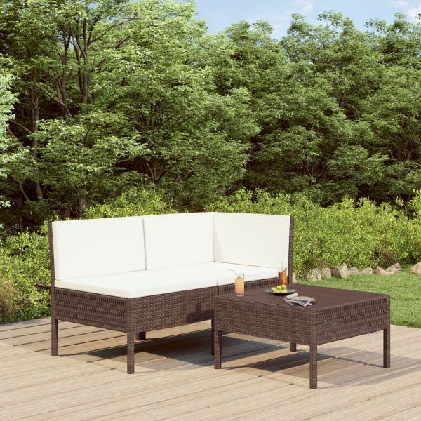 Zauberhafte 3-tlg. Garten-Lounge-Set mit Auflagen Poly Rattan Braun Uruapan
