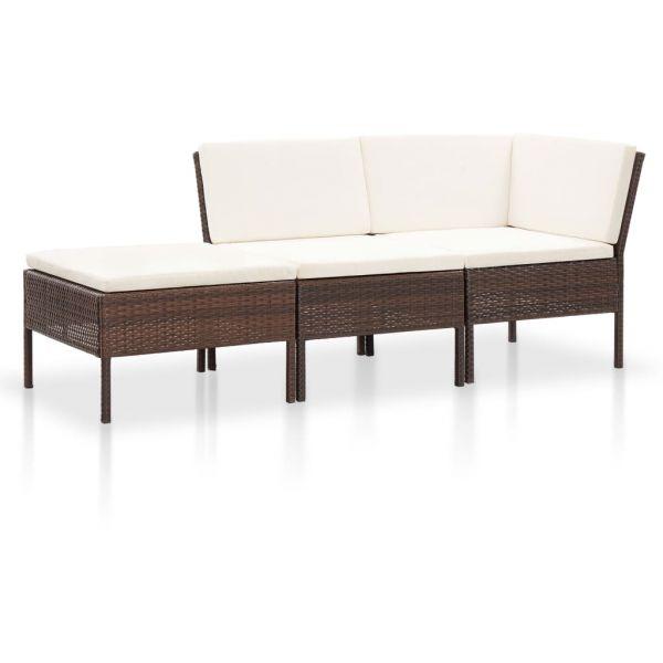 Zauberhafte 3-tlg. Garten-Lounge-Set mit Auflagen Poly Rattan Braun Parral