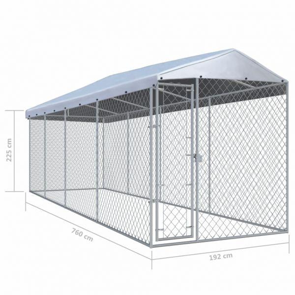 Stabile Outdoor-Hundezwinger mit Überdachung 760x190x225 cm Radom