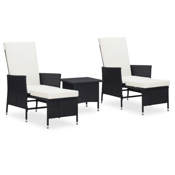 Herrliche 3-tlg. Garten-Lounge-Set mit Auflagen Poly Rattan Schwarz Cuernavaca