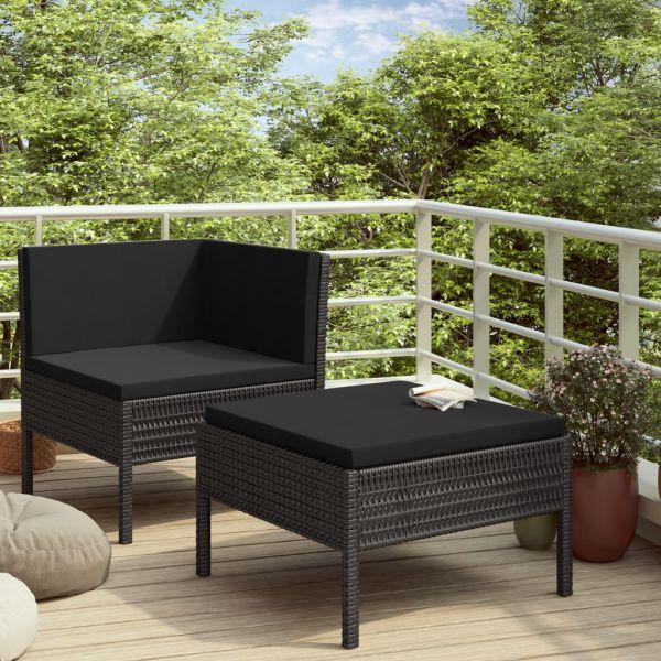 Ausgezeichnete 2-tlg. Garten-Lounge-Set mit Auflagen Poly Rattan Schwarz Salamanca