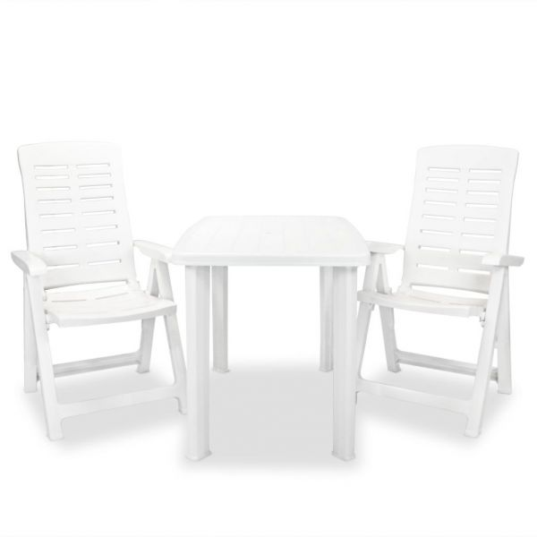 Wunderschöne 3-tlg. Bistro-Set Kunststoff Weiß Ecatepec