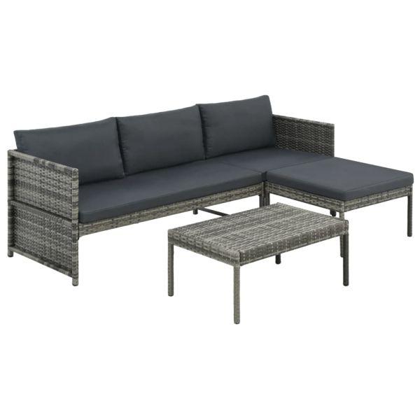 Elegante 3-tlg. Garten-Lounge-Set mit Auflagen Poly Rattan Grau Silao