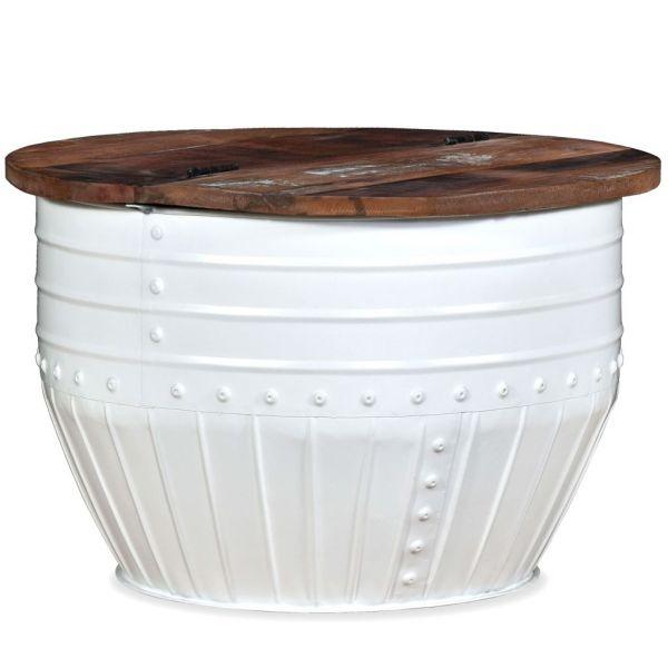 prachtvolle Oeiras Couchtisch aus massivem Recyclingholz Weiß Trommelform