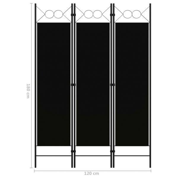 Wunderschöne Arzano 3-tlg. Raumteiler Schwarz 120 x 180 cm
