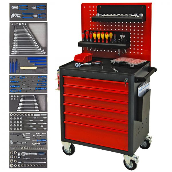 ADB Werkstattwagen Master Safety, fahrbar, bestückt mit 90-teiligen Werkzeugsatz