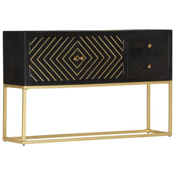 Schöne Brighton Sideboard Schwarz Golden 120 x 30 x 75 cm Mango-Massivholz