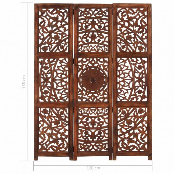 Fabelhafte Caltagirone 3-tlg. Raumteiler Handgeschnitzt Braun 120 x 165 cm Mangoholz