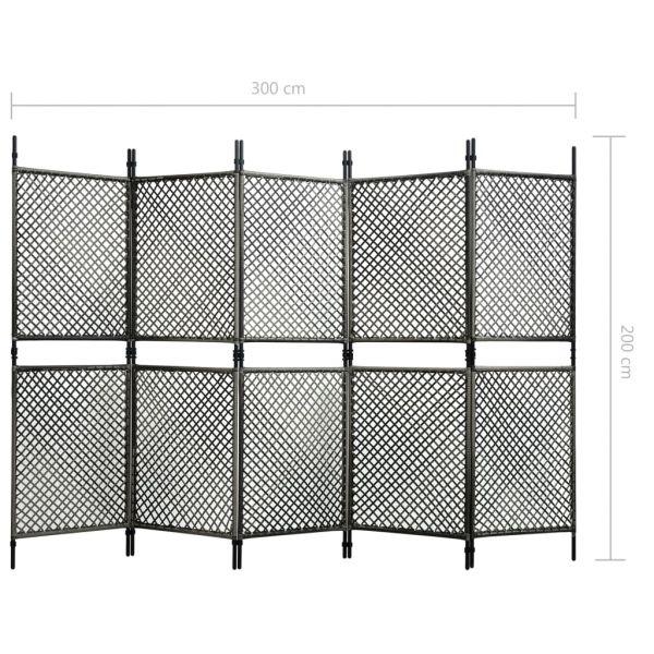 Charmante Piombino 5-tlg. Raumteiler Poly Rattan Anthrazit 300 x 200 cm