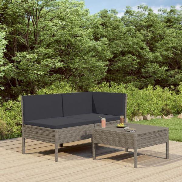 Zauberhafte 3-tlg. Garten-Lounge-Set mit Auflagen Poly Rattan Grau Tampico
