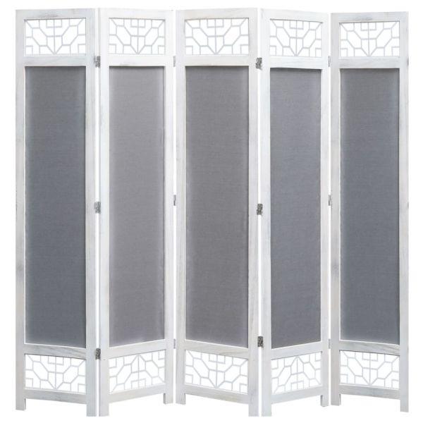 5-teiliger Raumteiler Grau 175 x 165 cm Stoff