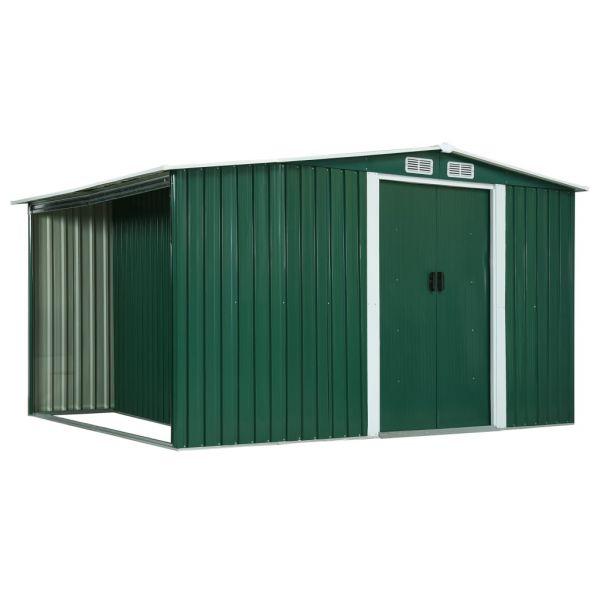 Resistenter Gerätehaus mit Schiebetüren Grün 329,5 x 131 x 178 cm Stahl Nueva Gerona