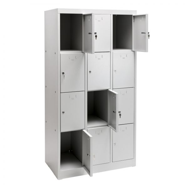Schließfachschrank / Fächerschrank 12 Fächer Lichtgrau 88x50x180