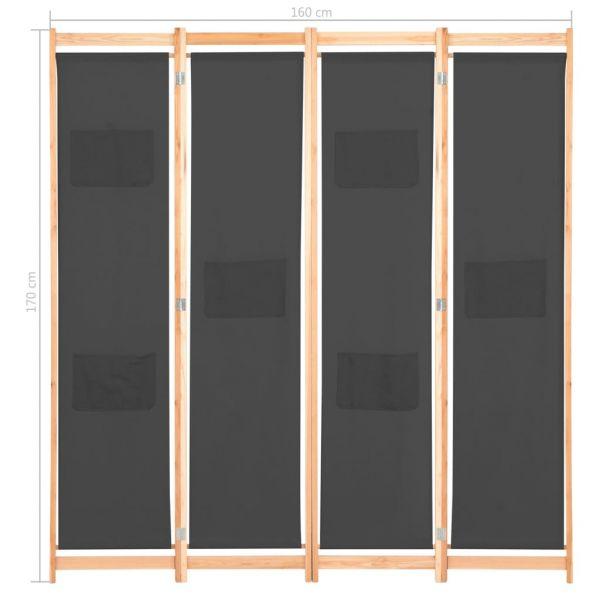 Ausgezeichnete Asti 4-teiliger Raumteiler Grau 160 x 170 x 4 cm Stoff