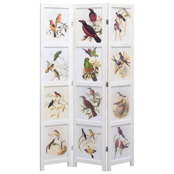 Schöne Rozzano 3-tlg. Raumteiler Weiß 105 x 165 cm Vogelmotiv