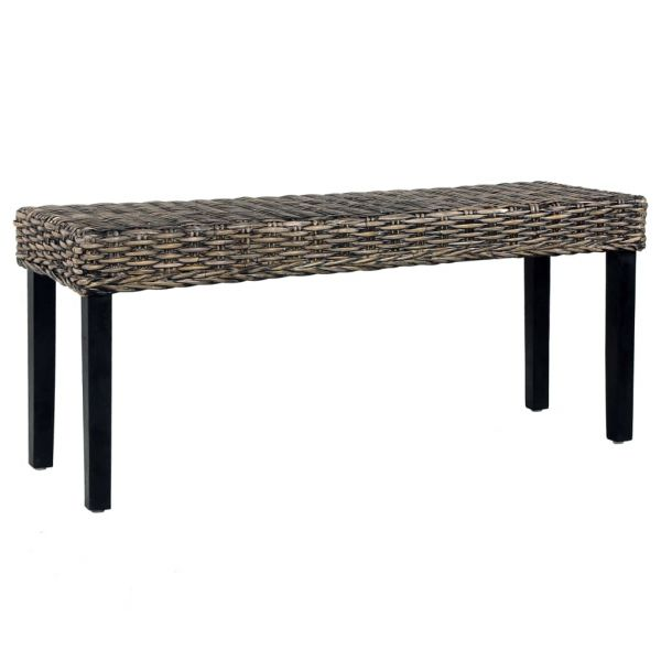 wunderschöne Sitzbank 110 cm Schwarz Natur Kubu-Rattan und Massivholz Mango Balassagyarmat
