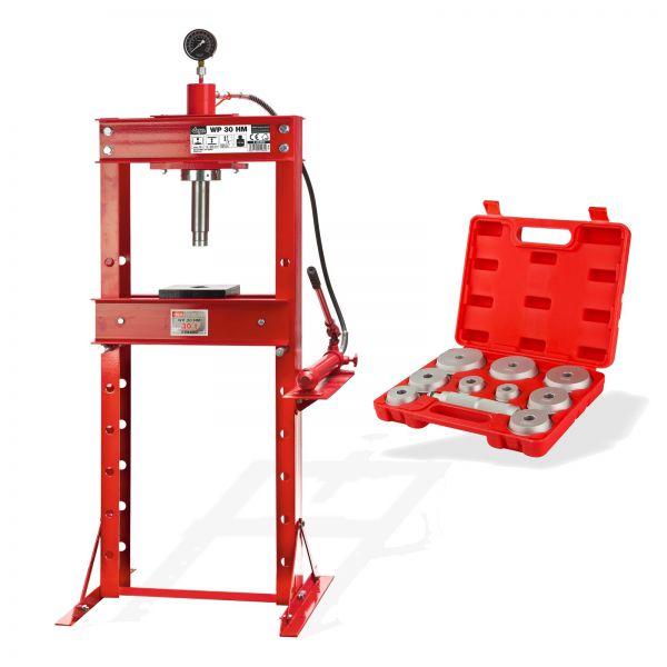 SET 30 Tonnen Werkstattpresse manuell + Druckstücksatz 10 tlg