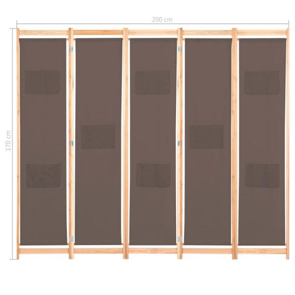 Wunderschöne Carrara 5-teiliger Raumteiler Braun 200 x 170 x 4 cm Stoff