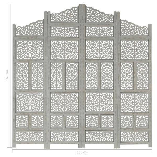 Klassische Cesano Maderno 4-tlg. Raumteiler Handgeschnitzt Grau 160 x 165 cm Mangoholz