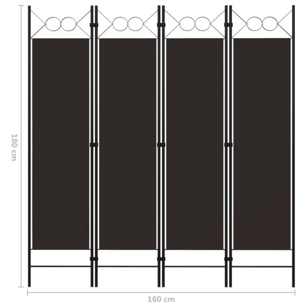 Trendige Gorizia 4-tlg. Raumteiler Braun 160 x 180 cm