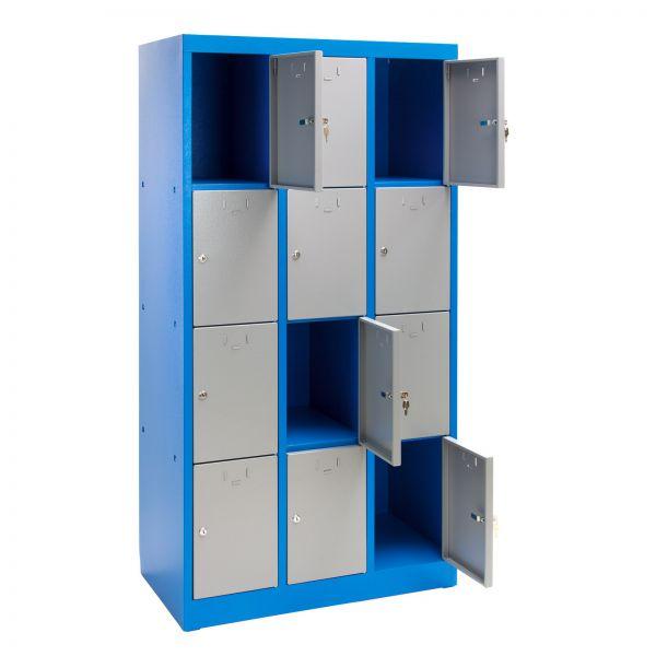 Schließfachschrank / Fächerschrank 12 Fächer blau/grau 88x50x180