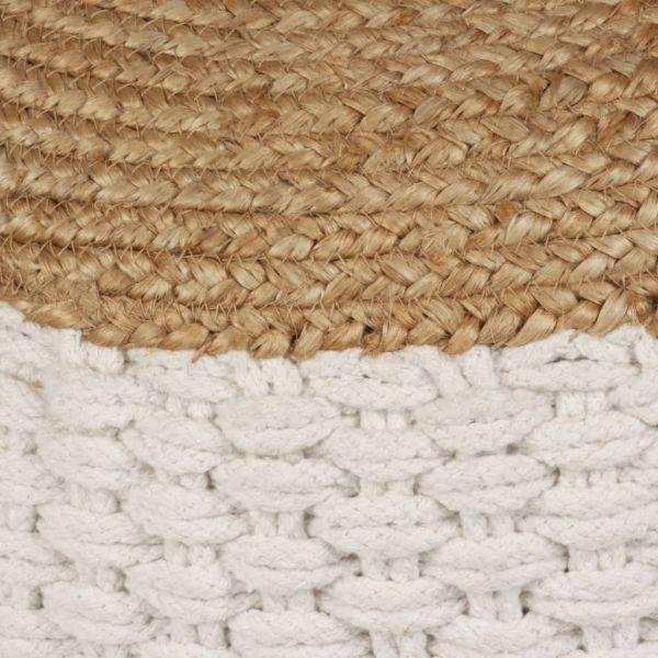 Schöne Ponte de Lima Pouf Gewebt/Gestrickt Jute Baumwolle 50 x 35 cm Weiß