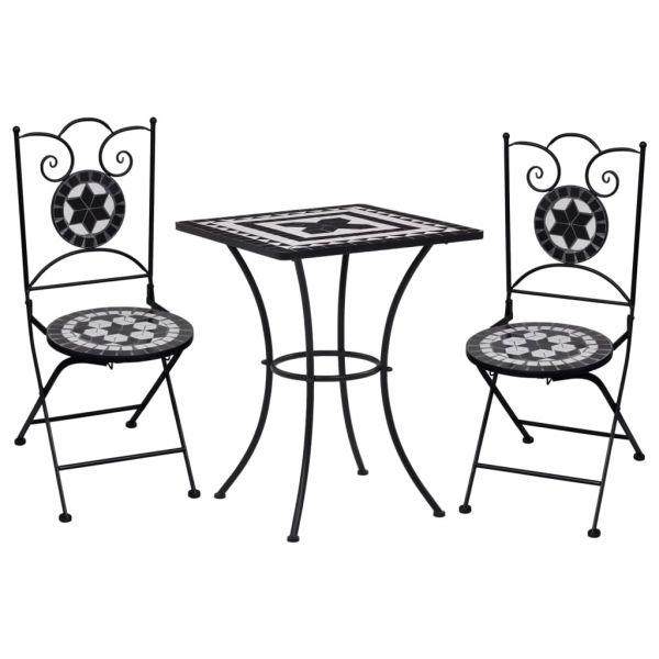 Geschmackvolle 3-tlg. Bistro-Set Mosaik Keramik Schwarz und Weiß Zapopan
