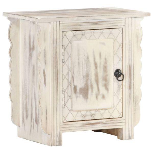 ausgezeichnete Nachttisch Weiß 50 x 30 x 50 cm Massivholz Mango Honefoss