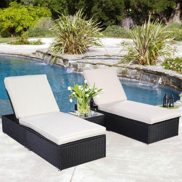 2 Sonnenliege + 1 Tisch Gartenliege