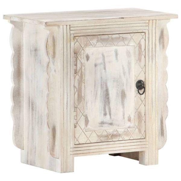 ausgezeichnete Nachttisch Weiß 50 x 30 x 50 cm Massivholz Mango Holmestrand