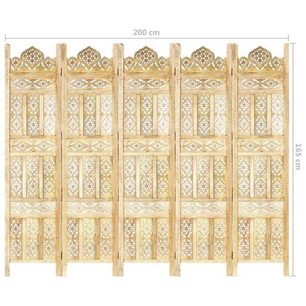 Trendige Imperia 5-tlg. Raumteiler Handgeschnitzt 200 x 165 cm Mango Massivholz