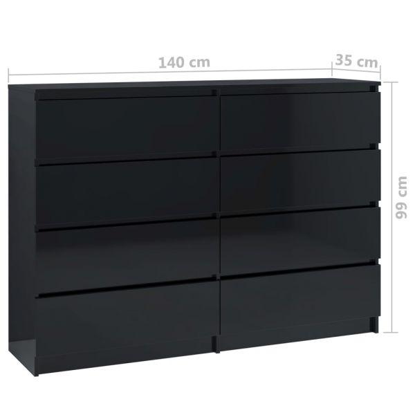 klassische Sutton Coldfield Sideboard Hochglanz-Schwarz 140 x 35 x 99 cm Spanplatte