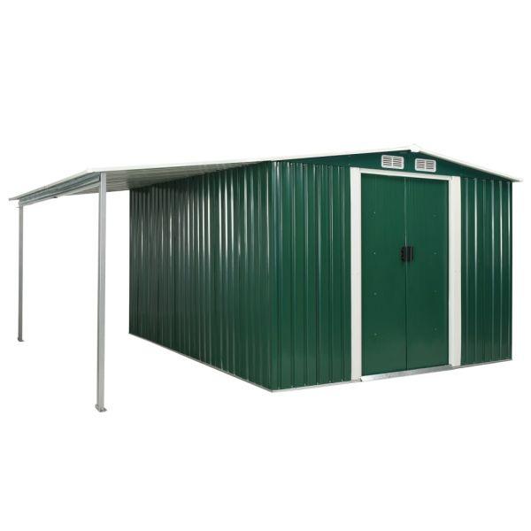 Solider Gerätehaus mit Schiebetüren Grün 386 x 312 x 178 cm Stahl Moa