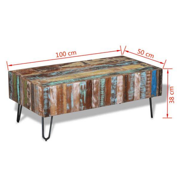 wonnevolle Lucan Couchtisch Recyceltes Massivholz 100 x 50 x 38 cm