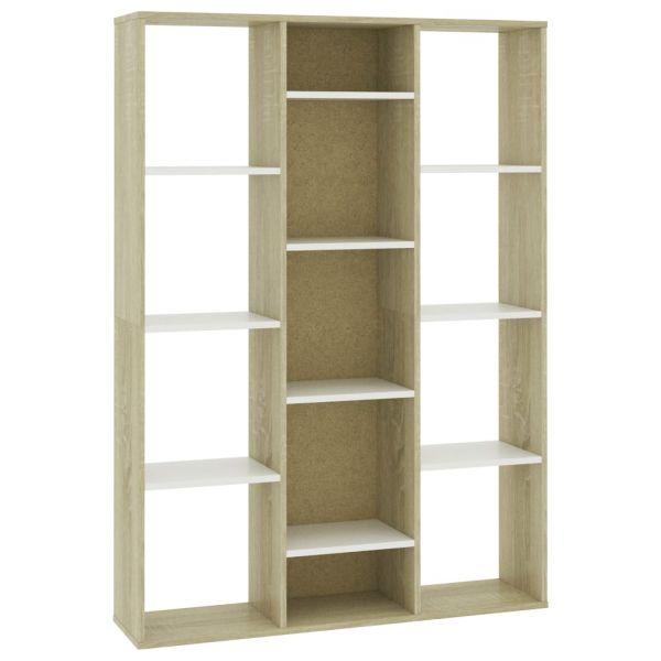 Fabelhafte Manduria Raumteiler/Bücherregal Weiß Sonoma-Eiche 100 x 24 x 140cm