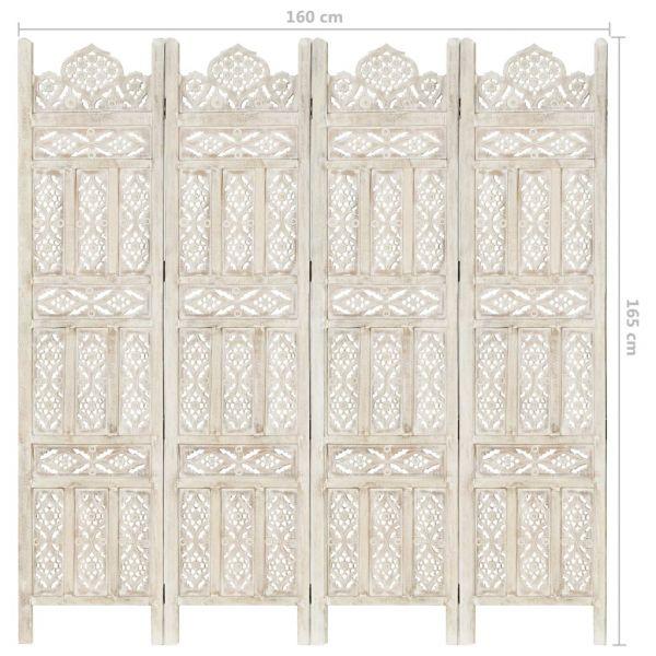 Moderner Saronno 4tlg. Raumteiler Handgeschnitzt Weiß 160 x 165cm Mango Massivholz