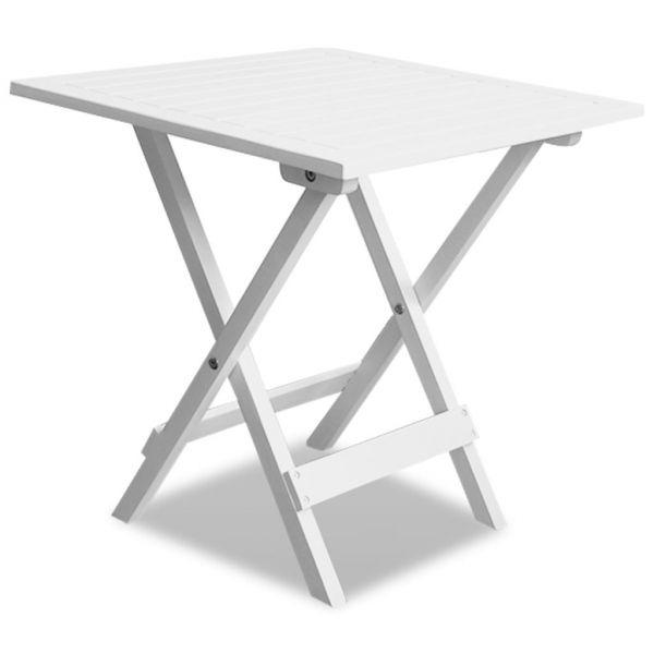 Gartentisch Weiß 46x46x47 cm Akazie Massivholz
