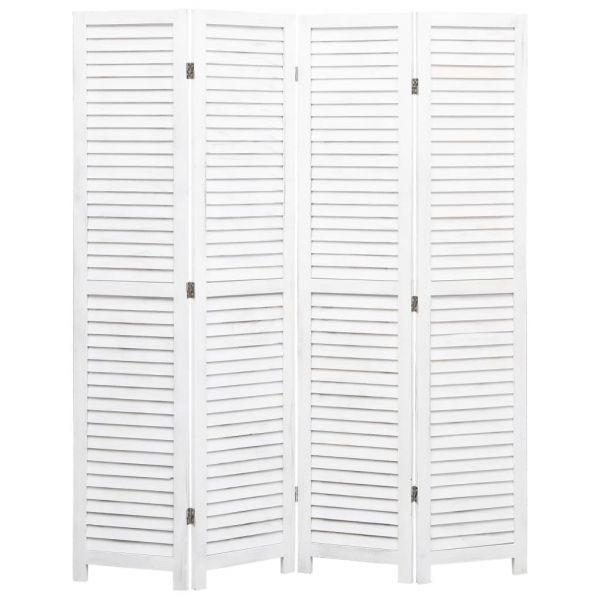 4-tlg. Raumteiler Weiß 140 x 165 cm Holz