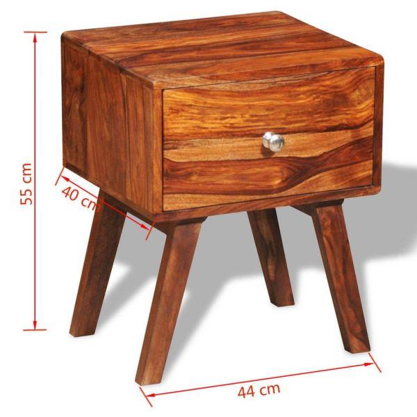 fabelhafte Nachttisch 2 Stk. mit 1 Schublade 55 cm Massivholz Brumunddal
