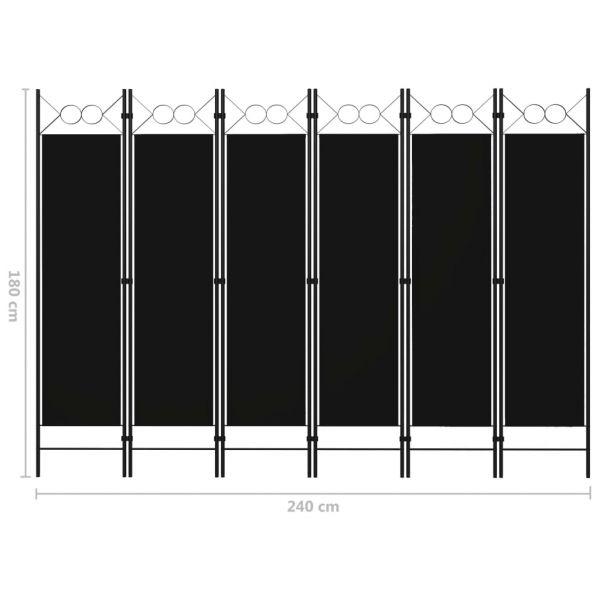 Klassische Rovereto 6-tlg. Raumteiler Schwarz 240 x 180 cm