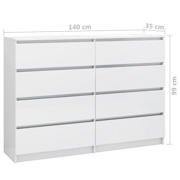 bildschöne Maidstone Sideboard Hochglanz-Weiß 140 x 35 x 99 cm Spanplatte