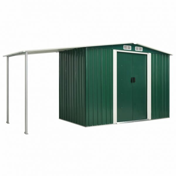 Widerstandsfähiger Gerätehaus mit Schiebetüren Grün 386 x 131 x 178 cm Stahl Placetas